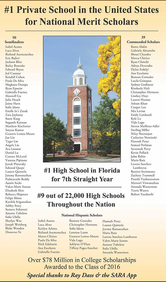 #1 Private School in the US for National Merit Scholars